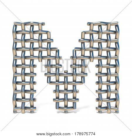 Metal Wire Mesh Font Letter M 3D