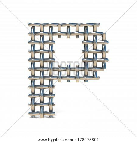 Metal Wire Mesh Font Letter P 3D