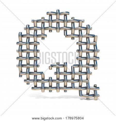 Metal Wire Mesh Font Letter Q 3D