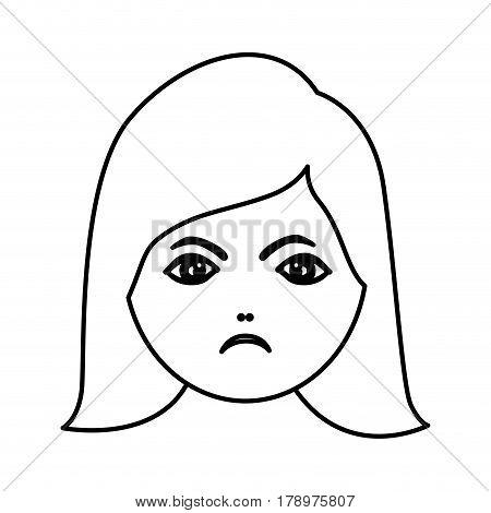 silhouette cartoon human female furious face vector illustration