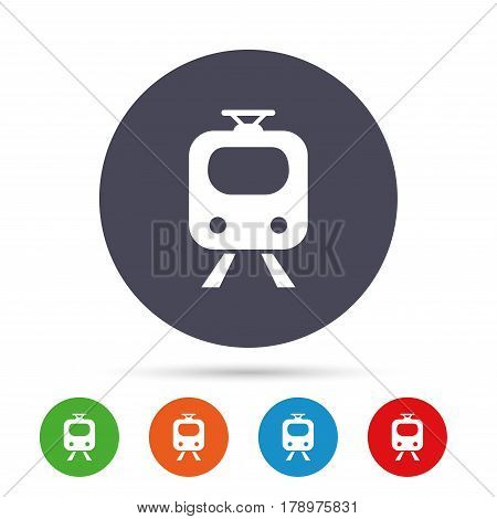 Subway sign icon. Train, underground symbol. Round colourful buttons with flat icons. Vector