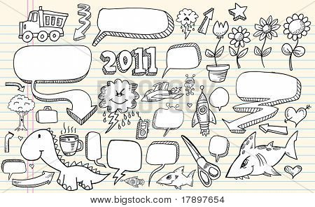 Notebook sketch Doodle Clip art Design Flower Speech Bubbles Elements Vector Illustration Set