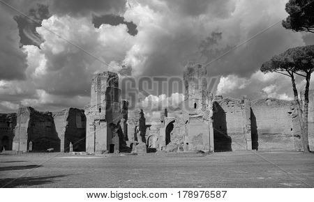 Ancient ruins of Baths of Caracalla in the center of Rome with beautiful sky (Black and White)