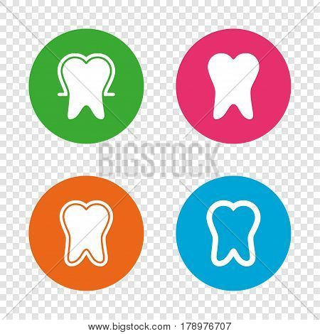 Tooth enamel protection icons. Dental toothpaste care signs. Healthy teeth sign. Round buttons on transparent background. Vector