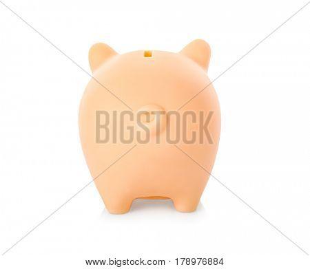 Ceramic piggy bank on white background