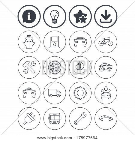 Information, light bulb and download signs. Transport and services icons. Ship, car and public bus, taxi. Repair hammer and wrench key, wheel and cogwheel. Sailboat and bicycle. Vector