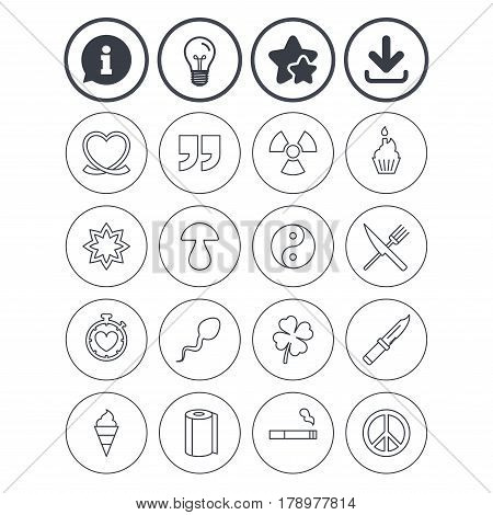 Information, light bulb and download signs. Universal icons. Quotes, ribbon heart and cake. Clover, mushroom and ice cream. Smoking, knife and fork. Best quality star symbol. Flat buttons. Vector