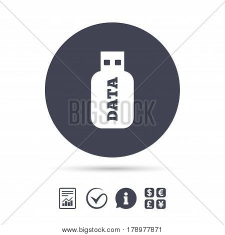Usb Stick sign icon. Usb flash drive button. Report document, information and check tick icons. Currency exchange. Vector