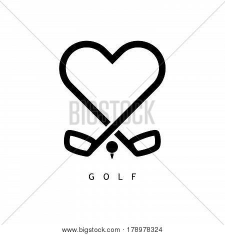 Golf Love Icon In Black Color Illustration