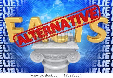 Alternative Facts 3D Illustration