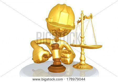 Legal Concept The Original 3D Character Illustration Construction Worker