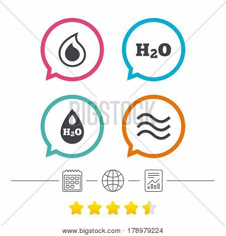 H2O Water drop icons. Tear or Oil drop symbols. Calendar, internet globe and report linear icons. Star vote ranking. Vector