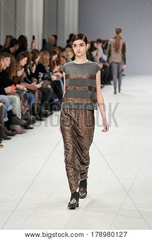 Kyiv, Ukraine - February 5, 2017: Models Walk The Runway During Fashion Show
