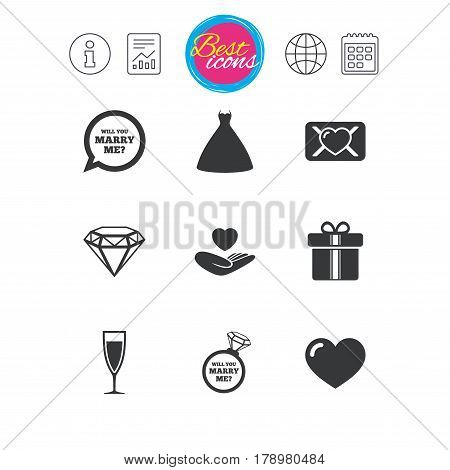Information, report and calendar signs. Wedding, engagement icons. Love oath letter, gift box and brilliant signs. Dress, heart and champagne glass symbols. Classic simple flat web icons. Vector