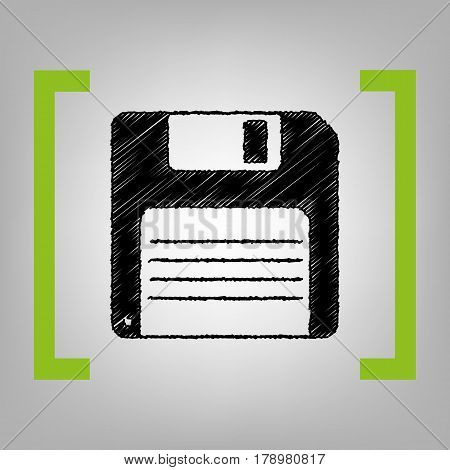 Floppy disk sign. Vector. Black scribble icon in citron brackets on grayish background.