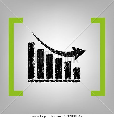 Declining graph sign. Vector. Black scribble icon in citron brackets on grayish background.