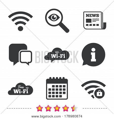 Free Wifi Wireless Network cloud speech bubble icons. Wi-fi zone locked symbols. Password protected Wi-fi sign. Newspaper, information and calendar icons. Investigate magnifier, chat symbol. Vector