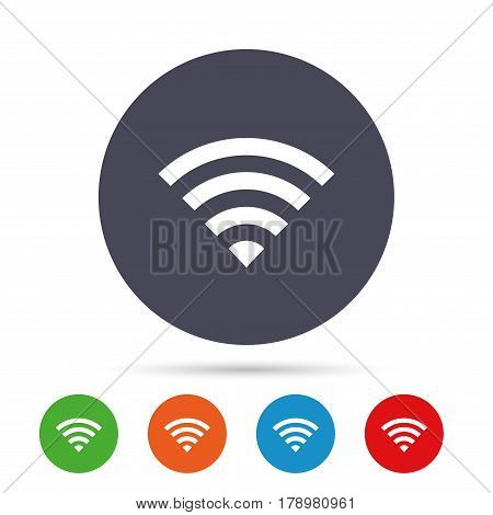 Wifi sign. Wi-fi symbol. Wireless Network icon. Wifi zone. Round colourful buttons with flat icons. Vector