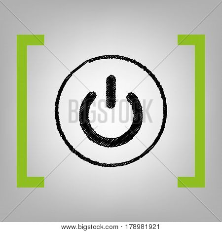 On Off switch sign. Vector. Black scribble icon in citron brackets on grayish background.