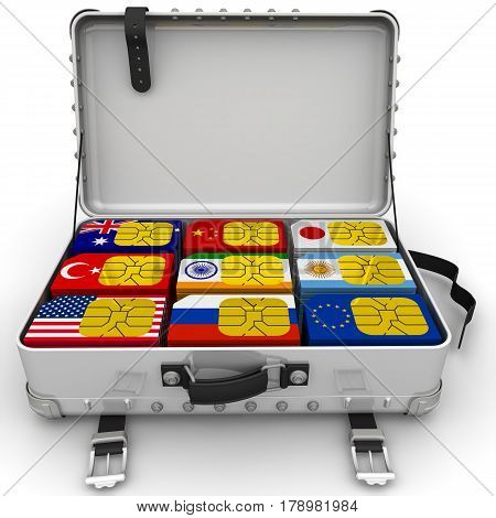 SIM-cards for travel. A suitcase filled with SIM cards with the image of flags of States. Isolated. 3D Illustration