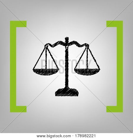 Scales balance sign. Vector. Black scribble icon in citron brackets on grayish background.