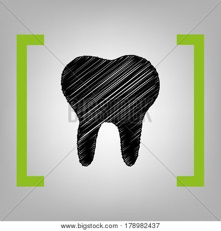 Tooth sign illustration. Vector. Black scribble icon in citron brackets on grayish background.