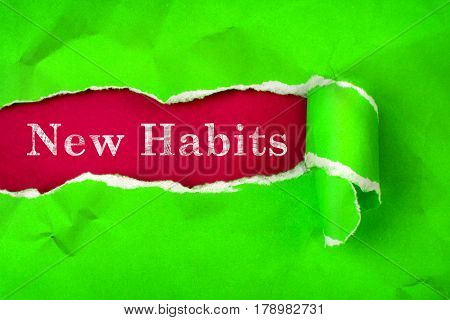 Crumpled Torn vibrant green Paper and New Habits text with a red paper background