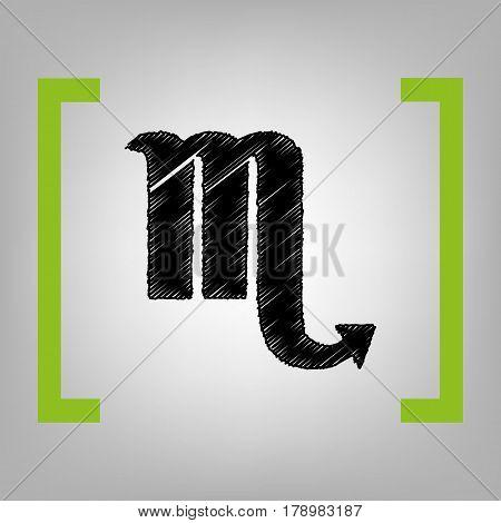Scorpio sign illustration. Vector. Black scribble icon in citron brackets on grayish background.