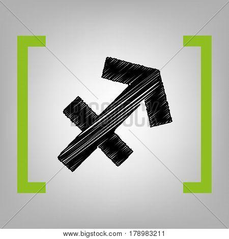 Sagittarius sign illustration. Vector. Black scribble icon in citron brackets on grayish background.