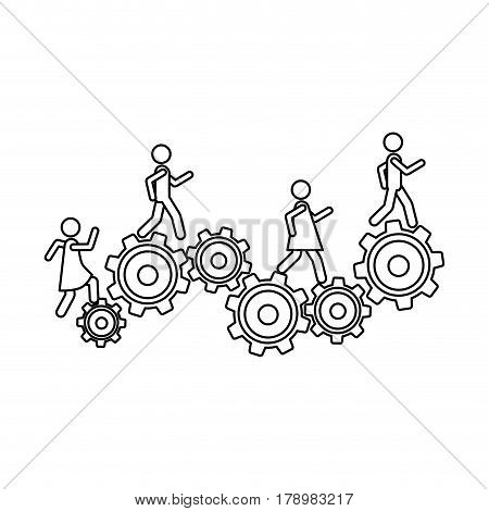 monochrome contour with people and industry progress vector illustration