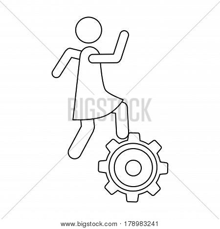 monochrome contour with woman over pinion vector illustration