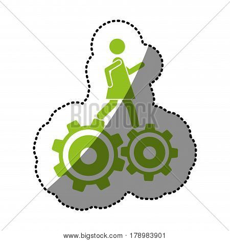 monochrome silhouette sticker with woman over two pinions vector illustration