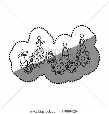 monochrome contour sticker with people and industry progress vector illustration