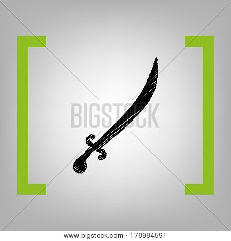 Sword sign illustration. Vector. Black scribble icon in citron brackets on grayish background.