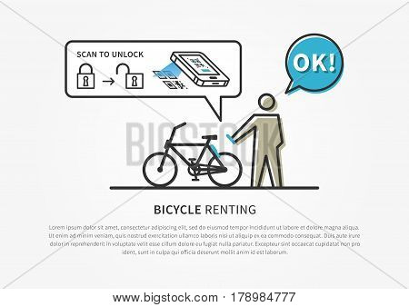 Bicycle renting app vector illustration. Bike renting service with software to scan qr code to unlock transport vehicle graphic design. Modern urban ecological transport.