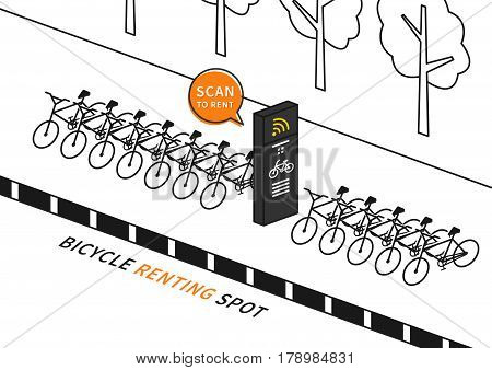 Bike renting station vector illustration. Row of bicycles to rent creative concept. Wireless station for sharing and renting bikes graphic design.