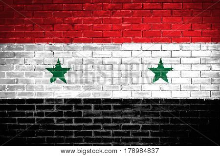 Syria flag , Syria flag on wall texture background