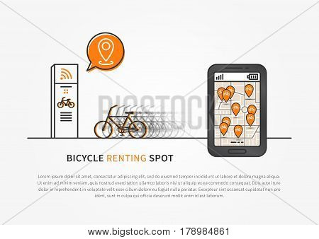 Application to look for bikes vector illustration. Mobile app to search for bicycles free and ready to rent creative concept. Smartphone with map and pins pointers graphic design.