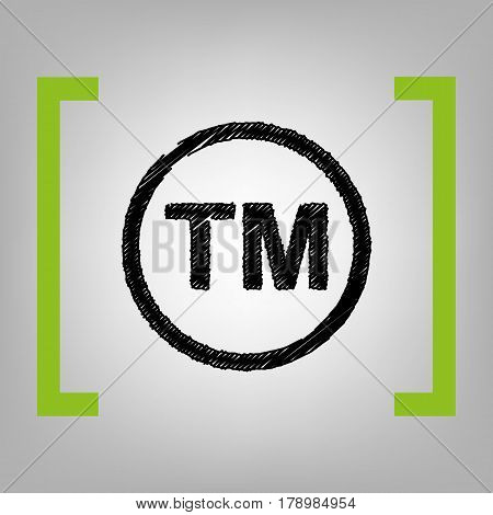 Trade mark sign. Vector. Black scribble icon in citron brackets on grayish background.