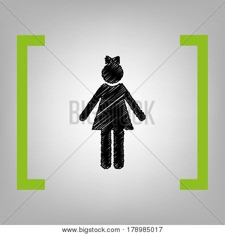 Girl sign illustration. Vector. Black scribble icon in citron brackets on grayish background.