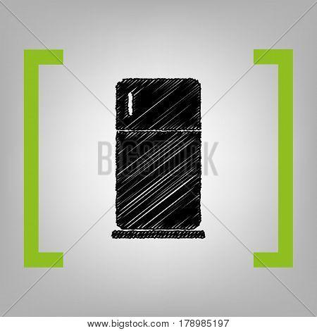 Refrigerator sign illustration. Vector. Black scribble icon in citron brackets on grayish background.