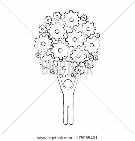 monochrome sketch of man holding up pinions set vector illustration
