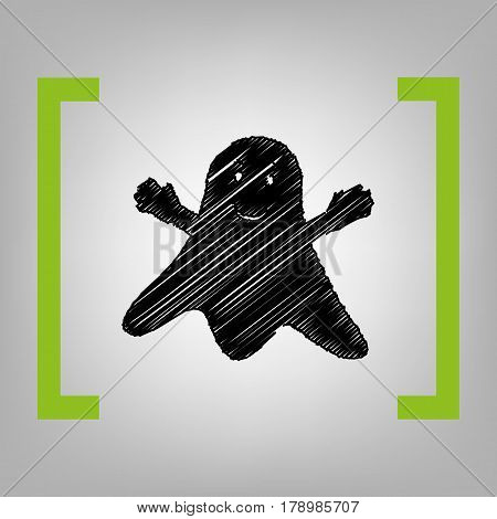 Ghost isolated sign. Vector. Black scribble icon in citron brackets on grayish background.