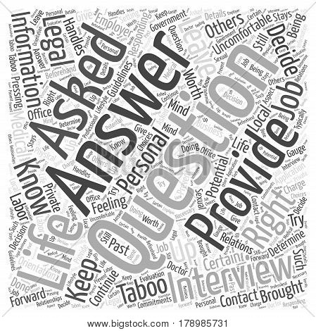 Responding to Taboo Questions Word Cloud Concept