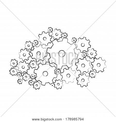 monochrome blurred silhouette with pinions set vector illustration