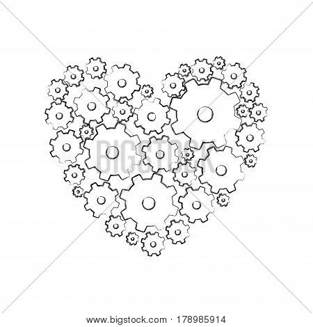 monochrome blurred silhouette with pinions set forming heart vector illustration