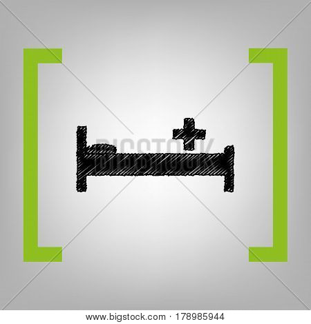 Hospital sign illustration. Vector. Black scribble icon in citron brackets on grayish background.