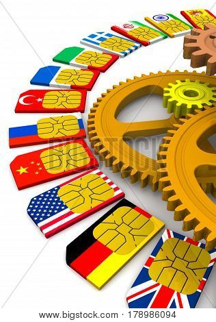 Set up roaming of cellular mobile communication. SIM cards with the image of flags of States and gears on white surface. Isolated. 3D Illustration