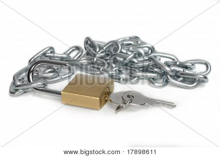 Open Padlock And Chain With Keys