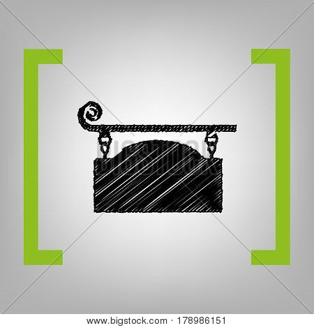 Wrought iron sign for old-fashioned design. Vector. Black scribble icon in citron brackets on grayish background.
